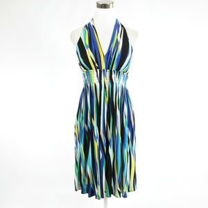 Blue red striped tribal TRACY REESE A-line dress S